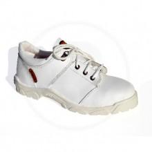 Zapato Cuero Flor blanco suela PU sin puntera